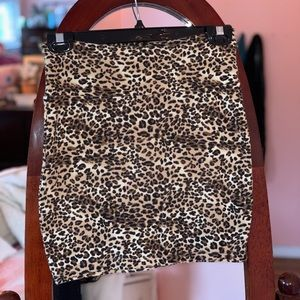 Caramel Leopard Print Stretch Mini Skirt